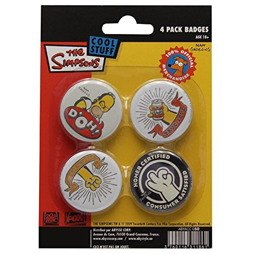 The Simpsons Cool Stuff 4 Pack Badges Spille
