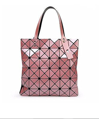Bag Female Folded Geometric Plaid Bag Fashion Casual Tote Women Handbag Shoulder Bag Style Japan (Pink