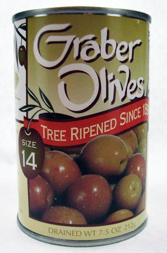 GRABER Tree Ripened Olives, 7.5oz Drained Weight (Pack of...