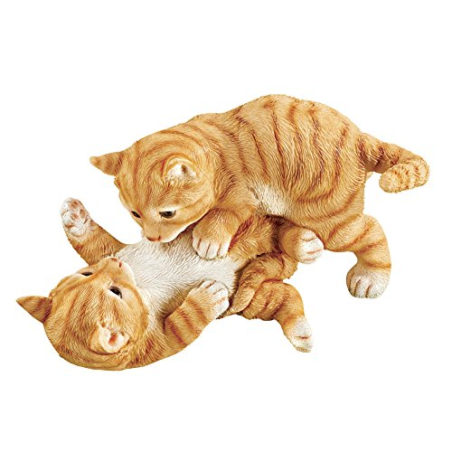 Collections Etc Kittens at Play Indoor or Outdoor Garden Statue Décor, Cat Lovers Gift, Orange and White ()