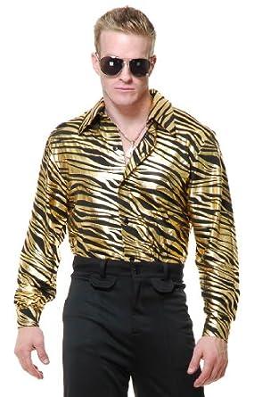 Amazon mens adults 70s metallic gold zebra print disco shirt mens adults 70s metallic gold zebra print disco shirt sciox Image collections