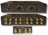 2x2 Speaker Selector Switch Switcher Volume Control, Commercial Grade Brass Jacks