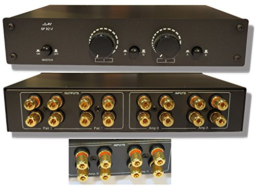 (2x2 Speaker Selector Switch Switcher Volume Control, Commercial Grade Brass Jacks)