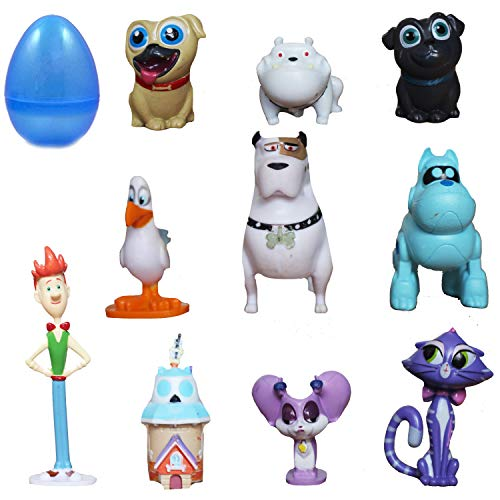 PARK AVE 12 pcs Toy Filled Puppy Dog Pals Playset Figures 1-2 Inches Inside Jumbo Plastic Easter Egg - Perfect for Cake Toppers, Egg Surprise Party Favor, Easter Egg Hunt, or Stocking Stuffer