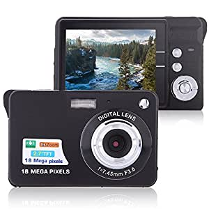 "Digital Camera, Lyyes 2.7"" Mini Camera HD 720P Digital Point Shoot Camera Camcorder 8X Zoom Camera for Kids and Gifts (Black)"