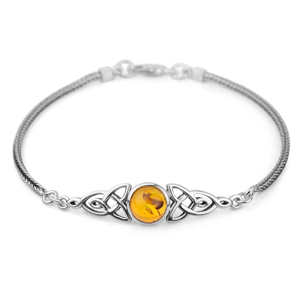 Chuvora Sterling Silver Genuine Amber Stone Celtic Trinity Knot Triquetra Triskelion Trikele Bracelet 8''