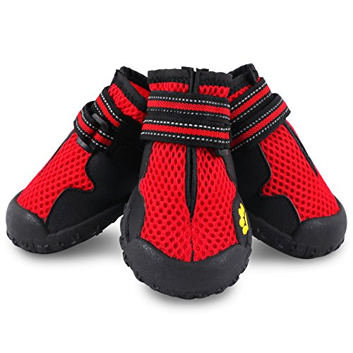 Breathable Dual Mesh Pet dog Shoes for hot Waterproof Dog Boots Reflective Velcro and Rugged Anti-Slip Sole Paw Protectors for Medium Dog RED(5) by - Wide Springs 2 Inch