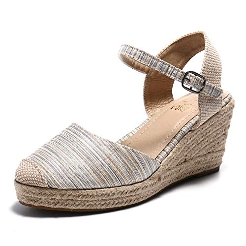 Alexis Leroy Women's Closed Toe Buckle Strap Slingback Espadrilles Wedge Sandals