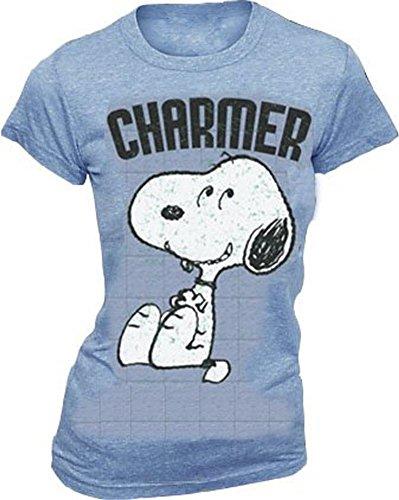 Peanuts Snoopy Charmer Heathered Blue Juniors T-shirt Tee (Juniors Medium)