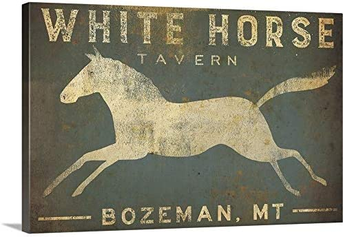 White Horse Running Canvas Wall Art Print