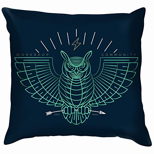 Thin Line Owl Icon Animals Wildlife Soft Cotton Linen Cushion Cover Pillowcases Throw Pillow Decor Pillow Case Home Decor 22X22 -
