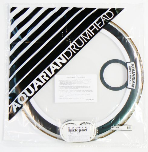 Aquarian SKP22WH Drumheads Super-Kick 1 Prepack 22-Inch Bass Drum Head, Gloss White