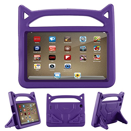All-New Fire 7 2017 Case,Riaour Kids Shock Proof Protective Cover Case for Amazon Fire 7 Tablet (Compatible with 5th Generation 2015 / 7th Generation 2017) (Grape Purple)