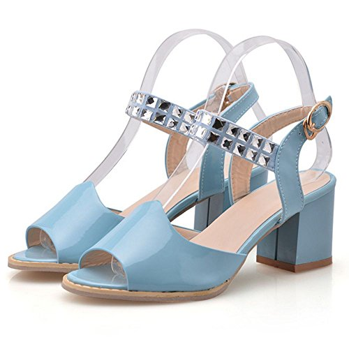 Heeled Strass Sexy Strap Blau Kleid Square Frauen Sandalen mit LongFengMa UCpPxnqC