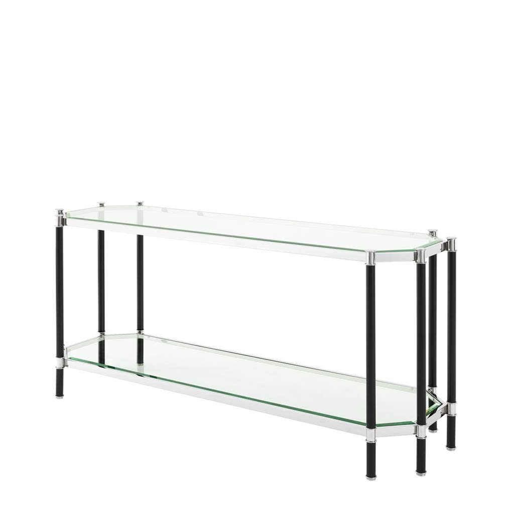 Glass TOP Console Table | EICHHOLTZ Florence | Silver Elegant Octagonal Dual Tempered Glass top Table for Living Room | Modern Luxury Furniture by Eichholtz Furniture by OROA