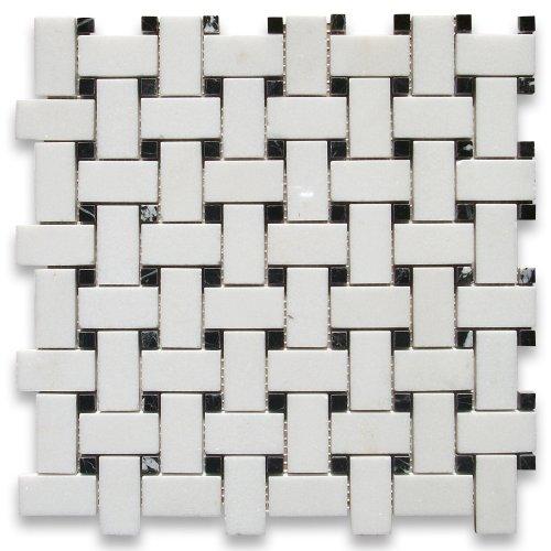 Thassos White Greek Marble Basketweave Mosaic Tile Black Dots 1 x 2 Polished -