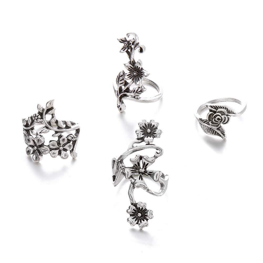 Mioloe Donne bohemien Stack Vintage argento anelli sopra Knuckle anelli Set avvolge fiore anelli 4 Set