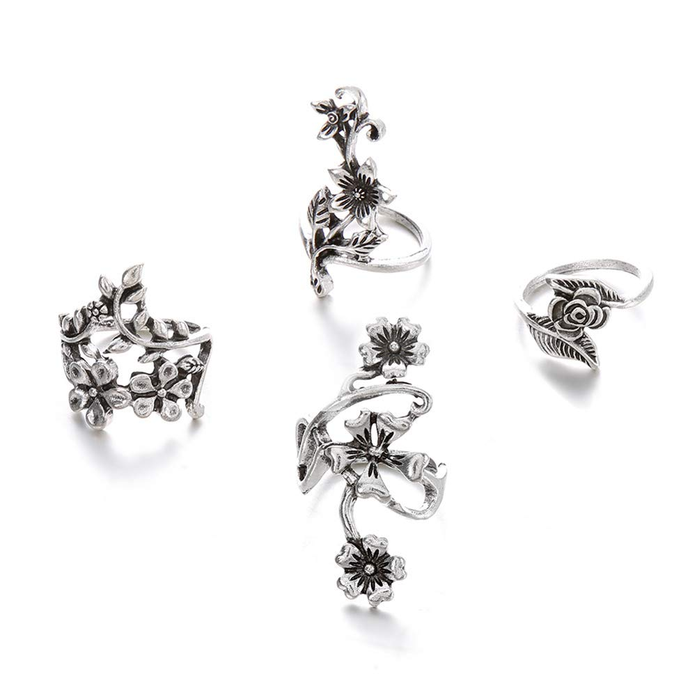 Desirepath 4 pcs/Set Women Flower Wraps Around Rings Bohemian Vintage Silver Stack Rings Above Knuckle Rings Set