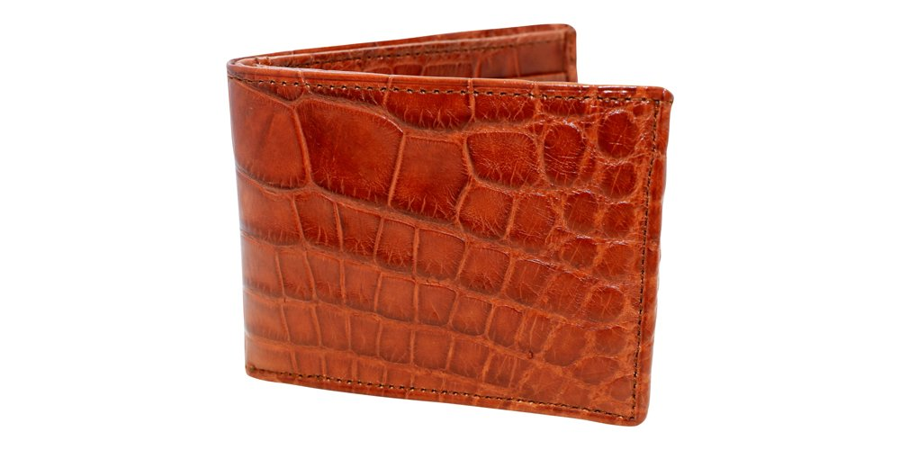 Cognac Tan Genuine Alligator Millennium Bifold Wallet – Alligator Inside and Out RARE - Factory Direct - Gift Box Included - Slim Billfold - Made in USA by Real Leather Creations FBA299