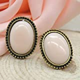 Single Night Vintage Delicate Oval Zebra-Stripe Pink Blue Rhinestone Ear Studs Earrings Solid Stone Earing for Girls Women Y60MHM206#M5