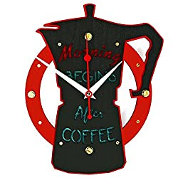 Morning begins after coffee HANDCRAFTED wooden wall clock home decor kitchen bar restaurant coffee shop wall art