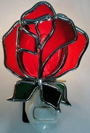 Amazon.com: Rosa roja de vidriera con luz nocturna: Home ...