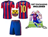 Fan Kitbag Messi #10 Barcelona Youth Home / Away Soccer Jersey & Shorts Kids Premium Gift Kitbag ✮ BONUS Messi #10 Drawstring Backpack (Youth Small 6-8 years, Home Short Sleeve)