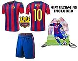Fan Kitbag Messi #10 Barcelona Youth Home / Away Soccer Jersey & Shorts Kids Premium Gift Kitbag ✮ BONUS Messi #10 Drawstring Backpack (Youth Large 10-13 years, Home Short Sleeve)
