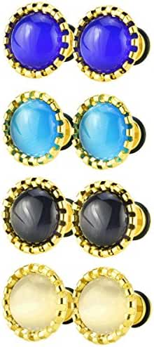 Assorted Color Stainless Steel Cat Eye Button Fake Gauges Ear Plugs Tunnel Screw Stud Earrings