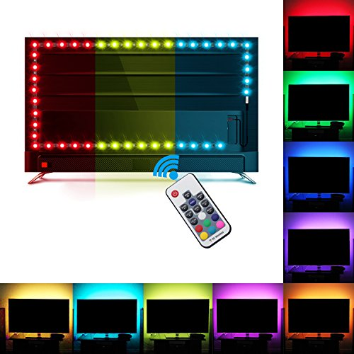 Bias Lighting, Relohas TV Backlight for HDTV ,LED Strip Lights with FR Remote Controller, 6.56ft RGB LED Strip Home Multi Color RGB LED TV Lighting for Flat Screen TV, PC, Neon Sign Decoration (2M)