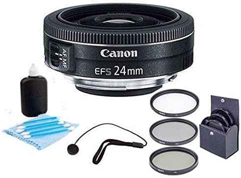 Canon EF-S 24mm f//2.8 STM Lens International Model with Cleaning Kit and Filter Kits