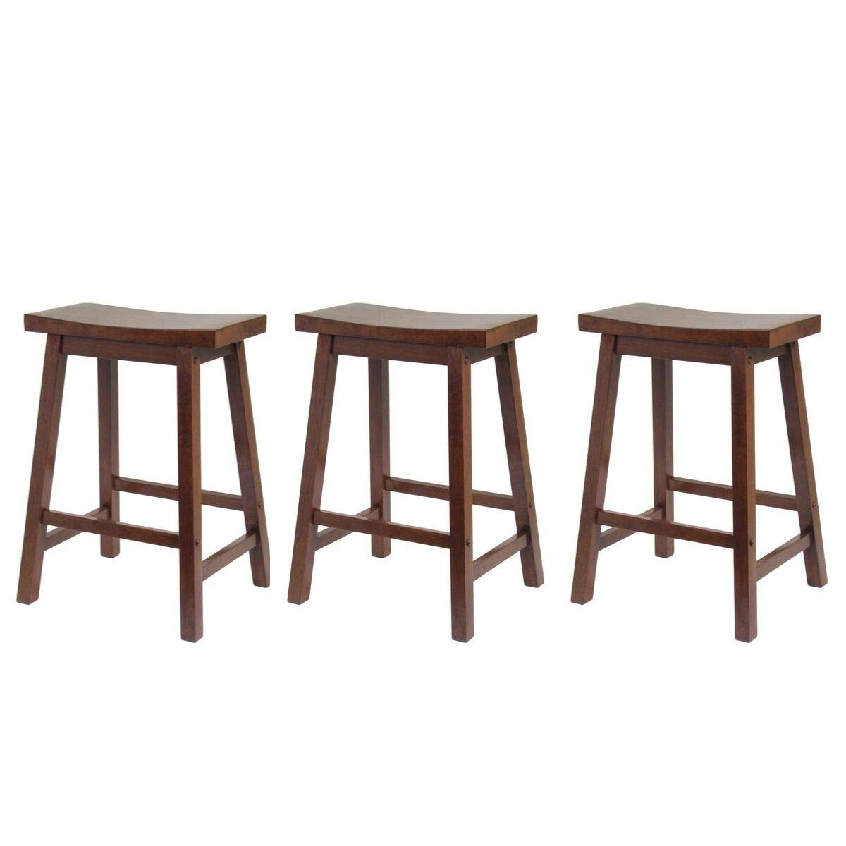 Winsome Wood Satori Saddle Seat Counter Stool, 24 , Walnut Set of 3