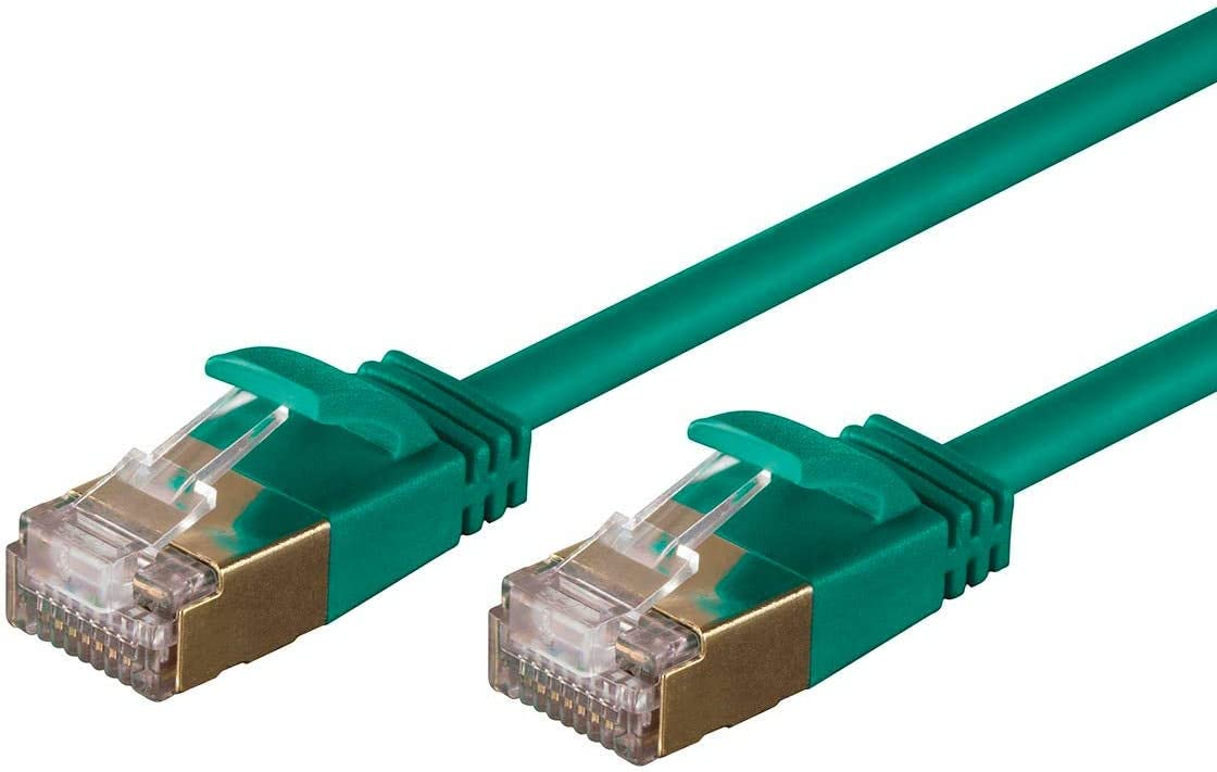 Stranded STP Monoprice SlimRun Cat6A Ethernet Patch Cable Network Internet Cord Green RJ45 Pure Bare Copper Wire 50ft 36AWG