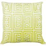Trina Turk Trellis Black Greek Key Embroidered Decorative Pillow, 20 by 20-Inch, Lime