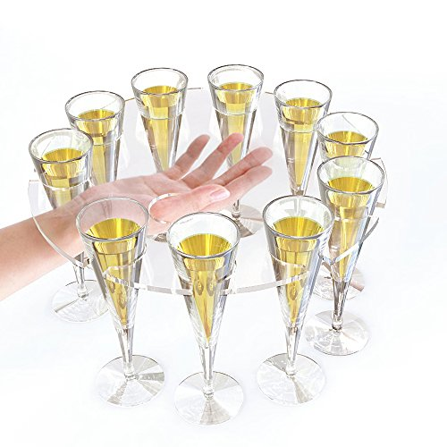 (2PCS/LOT) Acrylic Champagne Flute Suspension Serving Tray - 310 x 310mm To Hold 10 Glasses by ONELUX