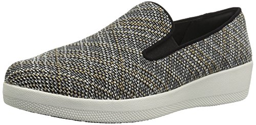 FitFlop Women's Superskate Twill Knit Flat,Black/Charcoal Mix,11 ...