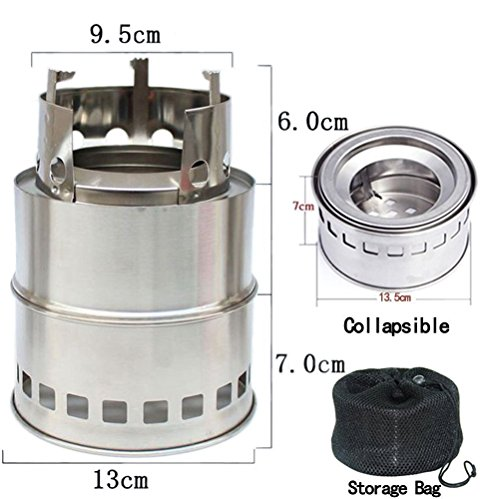 OUSPOTS Camping Stove/ Backpacking Stove -Portable Stainless Steel Camping Stove Lightweight Charcoal Wood Stove Picnic Outdoor Cooking BBQ Hiking ,emergency preparation