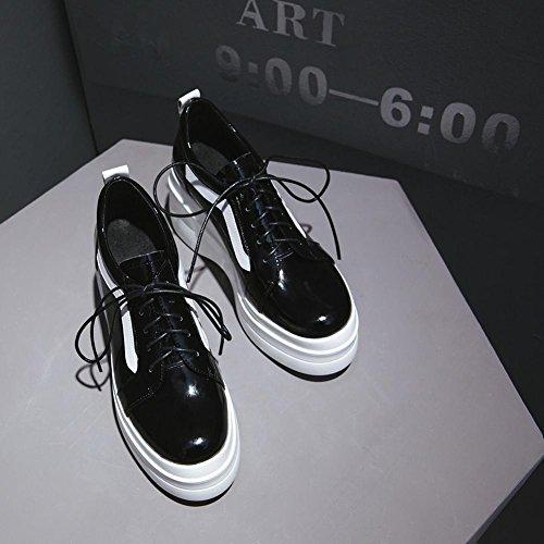 Lisse Creepers à Plateformes A0424 en Upper Baskets Chaussures Femme KJJDE WSXY Black qTXwBzXU