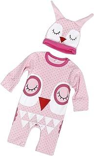 kingko® Newborn Infant Bébés garçons Filles Mignon Imprimer Romper Jumpsuit + Chapeau Tenues Vêtements