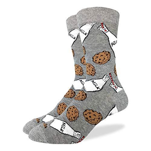 Good Luck Sock Men's Milk & Cookies Crew Socks - Grey, Shoe Size 7-12