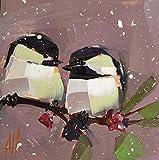 Two Winter Chickadees Bird Art Print by Angela Moulton 8 x 8 inch -  Pratt Creek Art