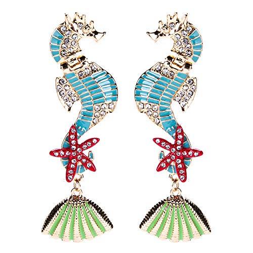 l Sea Horse Seastar Earring Charming Crystal Conch Drop Earrings Women Girls Gift (Green) ()