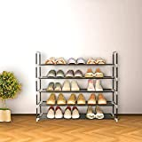 Blissun Shoe Racks Space Saving Non-Woven Fabric Shoe Storage Organizer Cabinet Tower (5 Tiers, Black)