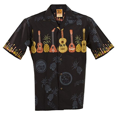 WinnieFashion Ukulele Hawaiian Aloha Shirt; Made in Hawaii [Black 2XL]