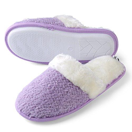 Aerusi Delle Donne Tessuto Memory Foam Fleece Banda Punta Stretta Slip On Indoor Slipper Camera Da Letto Indoor House Mule Shoes Purple