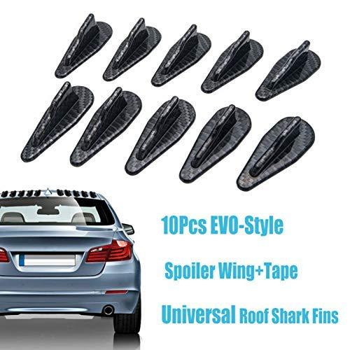 Shark Fins Spoiler Wing HugeAuto Universal EVO-Style PP Roof Shark Fins Spoiler Wing Kit Vortex Generator 10PC