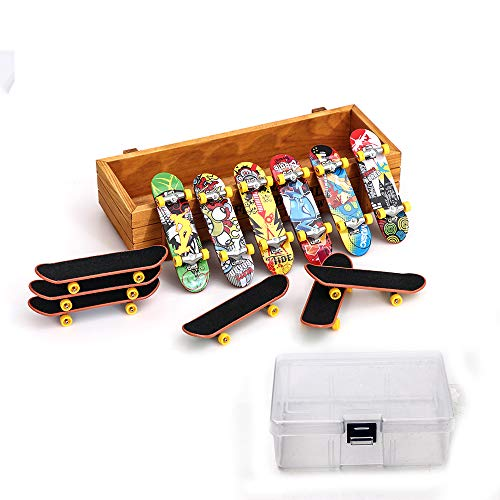 QING 12 PCS Matte Metal Professional Mini Fingerboards Finger Skateboard and 1PC Clear Storage Box]()