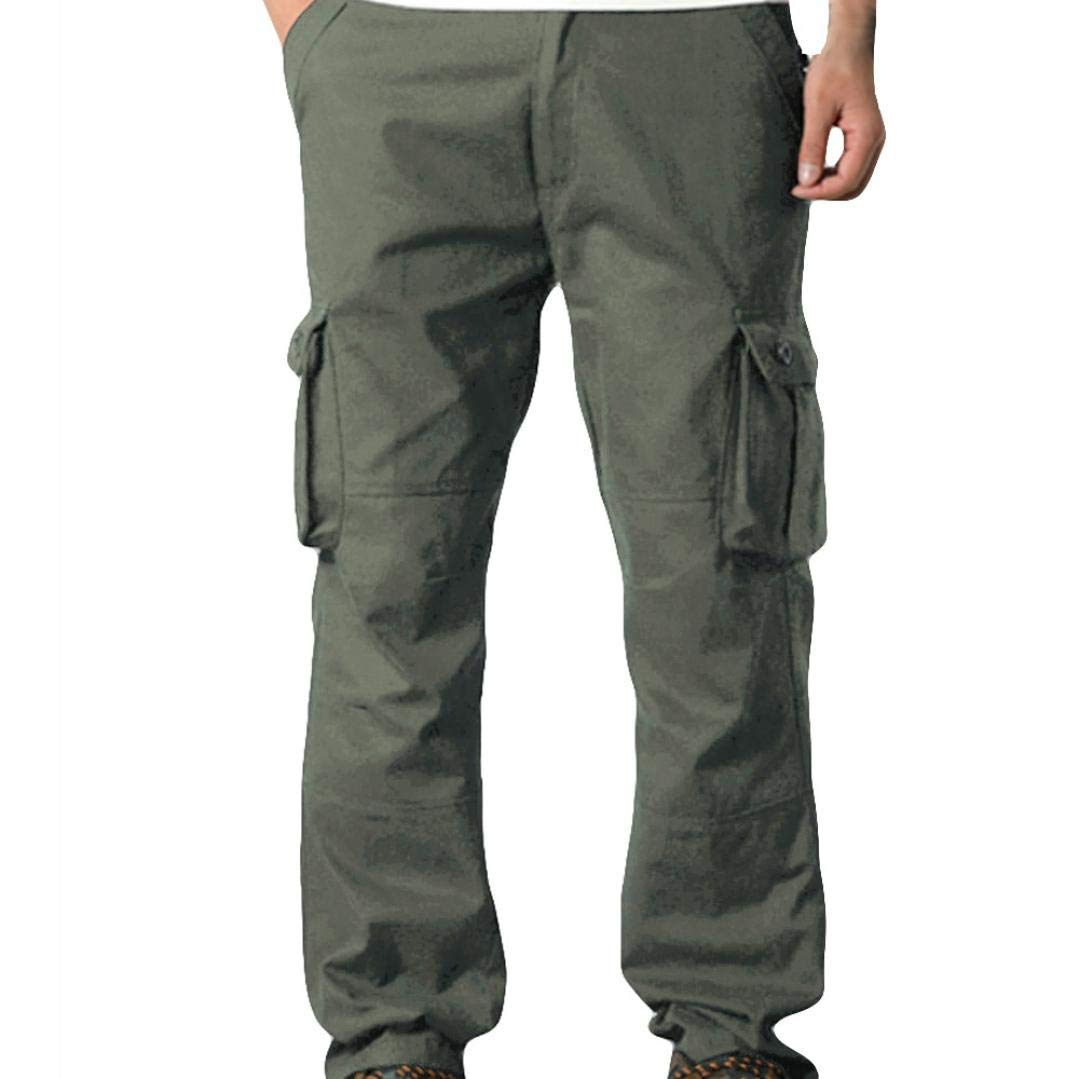 Dacawin Multi-Pockets Casual Solid Color Cargo Pants Men Fit Outdoors Work Beach Trousers
