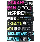 (12-pack) Dream, Believe, Inspire, Create Silicone Wristbands - Wholesale Bulk Pack of Inspirational Message Bracelets
