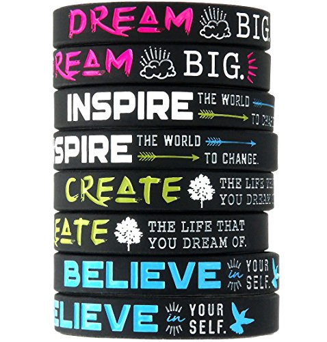 (12-pack) Dream, Believe, Inspire, Create Silicone Wristbands - Wholesale Bulk Pack of Inspirational Message Bracelets]()